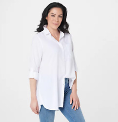 Side Stitch Regular Button Front Tunic with Pocket White Small $60.00