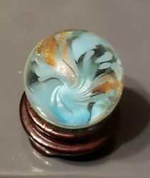 Jim Davis Vintage Signed 1.5quot; Handmade Art Glass Marble with gold lutz. $69.00