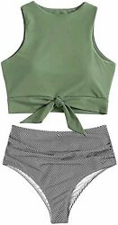 Sofia#x27;s Choice Swimsuit for Women Two Piece Tie Ac green Striped Size X Large $9.99