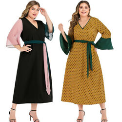 Fashion Women Flare Sleeve Long Dress Dubai Abaya Evening Party Gown Casual Robe C $34.99