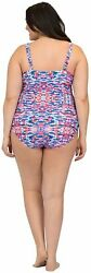 Beach Party Women#x27;s Plus Size Slimming Paneled One Piece Abstract Size 22 Hsmo $13.99