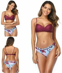 Bikinis Women Bathing Suit Wrap Push Up Bikini Top Dark Violet Size Medium $13.99