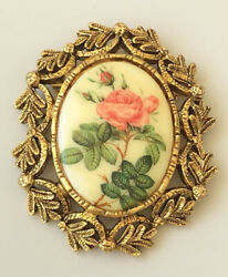 Vintage flower cameo large brooch gold tone metal $14.00