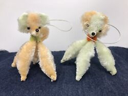 Vintage Chenille Googly Eye Poodle Dog Japan 1960's NOS Peach Green Ornaments $22.90