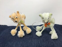 Vintage Chenille Googly Eye Poodle Dog Japan 1960's NOS Peach Green Ornaments #2 $22.90