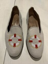 Stubbs amp; Wootton Palm Beach for J. Crew Loafer Flats Life Preserver Embroidery 8 $78.50