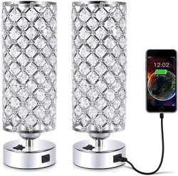 USB Crystal Table Lamp 12quot; Silver Lamp Sets Desk Lamp Two Pack Crystal Lamp $48.47