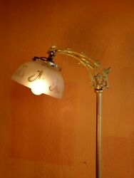 Antique Victorian 1920#x27;s Iron Floor Lamp Antique etched Shade $145.00