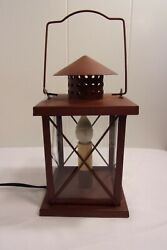 Vintage Corded Electric Hanging Metal Lantern Square Rust Brown 11quot; $32.98