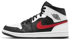 Air Jordan 1 Mid Chile Red Black White Grey Retro 554724 075 $147.00