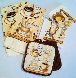 Coffee Kitchen Towel Set Dishcloth Scrubbers Potholders Towels Cafe Latte New $16.99