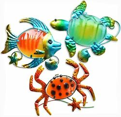 Set of 3 Beach Theme Decoration Metal Stained Glass Wall Art Decor 10#x27;#x27; Inch $39.99