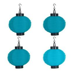 Solar Chinese Lanterns Set Of 4 LED Outdoor Garden Decor 8 in. Accordion Blue $27.04