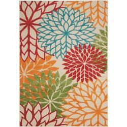 Area Rug Aloha Green 5 ft. x 7 ft. Floral Pattern Modern For Indoor Outdoor $82.50