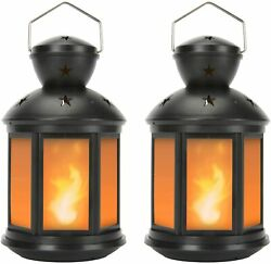 Decorative Lantern LED Battery Powered Small Tabletop Display Indoor Outdoor 2Pk $33.61