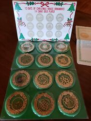 Vintage Complete 12 Days Of Christmas Ornaments 14K Gold Plated w Instructions $24.95