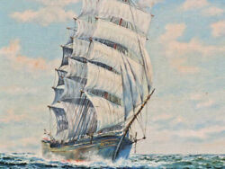 OLD OIL PAINTING 3 MAST SHIP AT SAIL ON HIGH SEAS 16 1 4 x 12 1 2 SIGNED LISTED $135.00