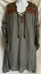 Free People EMBROIDERED Large Black Geometric Boho Dress w Pockets $29.95