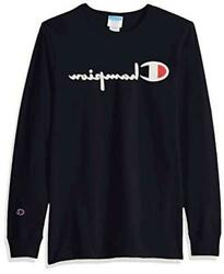 Champion LIFE Men#x27;s Heritage Long Sleeve Tee Black Ink Navy Size X Small bCwC $9.99