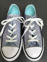 Youth Converse All Star Girls Iridescent Sz 2 Low Top Sneakers Worn Once $34.00