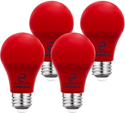 Explux Commercial Lighting Dimmable A19 LED Red Light Bulbs 60W Equivalent 4 P