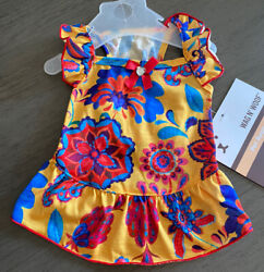 WAG N#x27; WOOF RED YELLOW FLORAL RUFFLE SLEEVE SUMMER Dress Puppy Dog SMALL $16.50