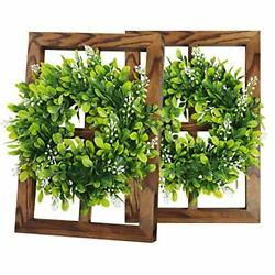 2 Psc Rustic Wall Decor Window with Wreath Wood Frames Farmhouse Wall Art for $56.76