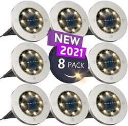 8 Pack Solar Ground Lights 8 LED Bulbs Bright Right Outdoor Lights Waterproof $30.05