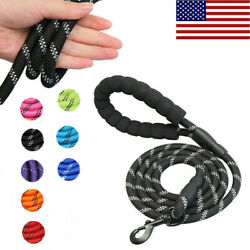 5FT Dog Leash Large Pet Rope Heavy Duty Reflective Nylon Leads with Comfy Handle $6.59