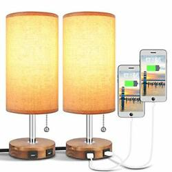 USB Table Lamp Bedside Table Lamp with Two USB Ports Round Fabric Lamp Sets S... $55.93