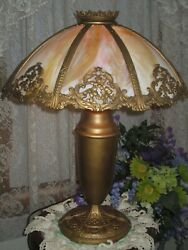 ANTIQUE SLAG GLASS PANEL ELECTRIC TABLE LAMP 8 PANELS TEXTURED GLASS MARKED EL $525.00