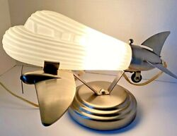 Vintage Airplane Lamp Chrome amp; Frosted Glass Globe DC3 Lowe#x27;s Art Deco Table $125.99