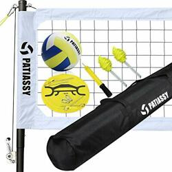 Portable Outdoor Volleyball Net Set with Height Adjustable Poles Winch White $250.37