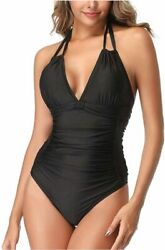 Smismivo Tummy Control Swimwear Black Halter One Piece Black Size Medium Yp3M