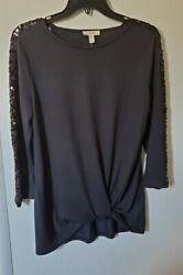 NEW Como Blu Black Sequin Tunic Blouse Size P S.