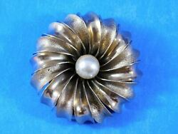 Vintage Flower Brooch Faux Pearl Gold Tone Layered Domed Large 2 Inches $9.99