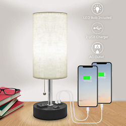 Table Lamp for Bedroom USB Bedside Lamp Nautral Daylight Modern Nights $22.18