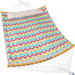 Double Hammock Quilted Fabric Swing with Strong Curved Bar Bamboo amp; Detachable … $86.22