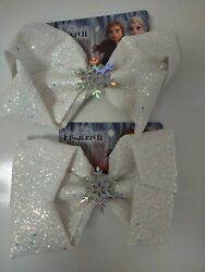 Disney Frozen 2 Girls 2 Bow Clip Elsa Anna Snow Sparkle Hair Bow Accessories $12.99