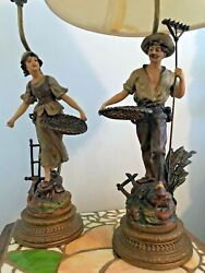 2 vintage lamps farmers harvest very heavy Man and Woman lamp 26quot; tall $400.00