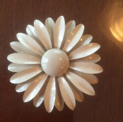 Vintage Flower Metal Enamel Pin Brooch cream 3quot; $11.99