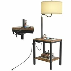 LED Floor Lamp with Table Rustic End Table with USB Charging Port Power $127.88