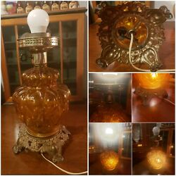 Rare Accurate Casting Co. Vintage Antique Quilt Amber Glass 2 Way Lamp No Shade $39.95