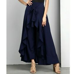 Navy Blue High Waisted Dress Pants w Ruffle Skirt Wrap NWT Women#x27;s Formal Party  $19.90