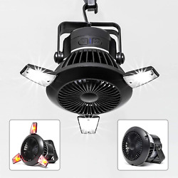 BusyPiggy Solar Camping Fan with LED Lantern Portable Tent fan with Hanging USB $36.07