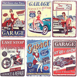 Vintage Metal Signs for Garage Retro Wall Decor 8 x 11.8 in 6 Pack $16.99