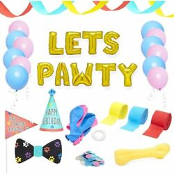 Blue Panda Dog Birthday Party Supplies Lets Pawty Decorations Kit 25 Pieces $10.99