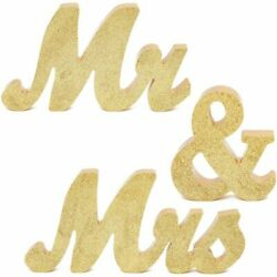Mr. and Mrs. Signs for Wedding Table Decoration 6 Inches Gold 3 Pieces $14.99