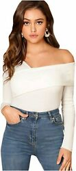 Romwe Women#x27;s Casual Cross Off Shoulder Deep V Neck Ribbed White Size Small $9.99