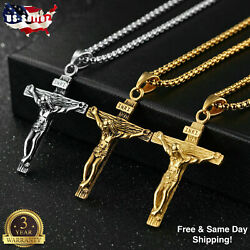 Mens Silver Stainless Steel Jesus Christ Crucifix Cross Pendant Necklace Chain $4.24